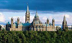 Canada's Parliament building atop Ottawa River